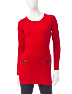 A. Byer Red Ribbed Knit Tunic Sweater