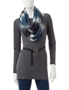 A. Byer Grey Tunic Sweater with Infinity Scarf
