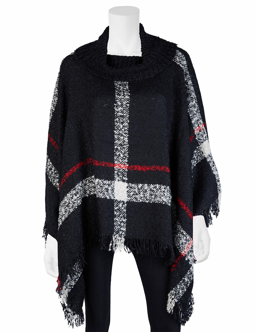 A. Byer Black Ponchos Pull-overs Sweaters