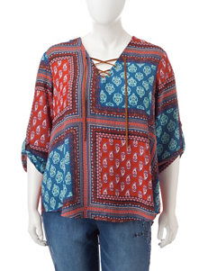Liberty Love Juniors-plus Multicolor Abstract Print Top