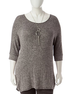 Liberty Love Juniors-plus Grey Marled Knit Top with Fashion Necklace