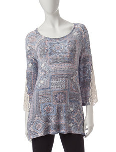 Signature Studio Multicolor Abstract Print Top