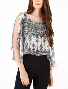 A. Byer Abstract Print Top with Fashion Necklace