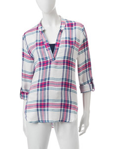 Signature Studio Multicolor Plaid High-lo Hem Top