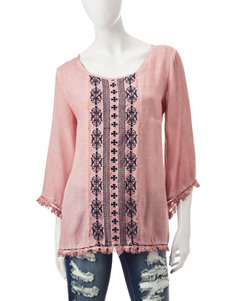 Signature Studio Pink Embroidered Top