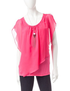 AGB Pink Layered-look Top & Silver-tone Fashion Necklace