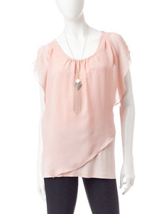 AGB Light Pink Layered-look Top & Silver-tone Fashion Necklace