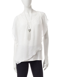 AGB White Layered-look Top & Silver-tone Fashion Necklace