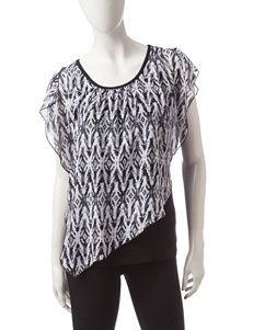 AGB Black & White Abstract Print Layered-look Top