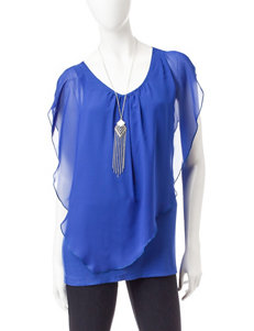 AGB Blue Layered-look Top & Silver-tone Fashion Necklace