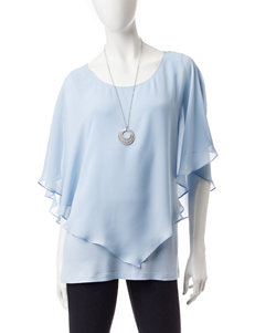 AGB Light Blue Layered-look Top & Silver-tone Fashion Necklace