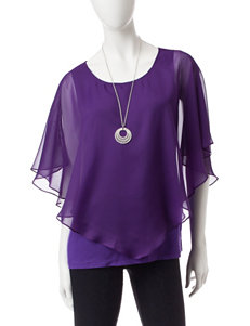 AGB Purple Layered-look Top & Silver-tone Fashion Necklace