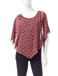 AGB Multicolor Abstract Print Layered-look Top