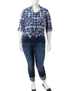 YMI Junior-plus Roll Cuff Dark Wash Jeans