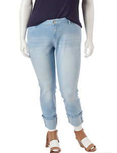 YMI Juniors-plus Roll Cuff Light Wash Jeans