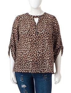 Justify Juniors-plus Cheetah Print Zip Top