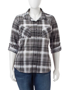 No Comment Junior-plus Multicolor Plaid Print Top