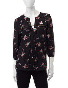 My Michelle Multicolor Floral Print Tie Front Top