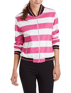 XOXO Pink & White Striped Bomber Jacket
