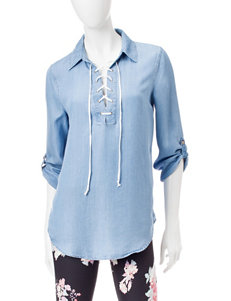 Heart Soul Lace-up Chambray Top