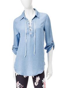 Heart Soul Light Blue Pull-overs Shirts & Blouses
