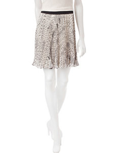 Heart Soul Black & White Abstract Print Pleated Skirt
