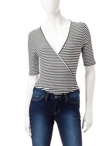 Heart Soul Black & White Striped Print Bodysuit