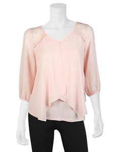 A. Byer Pink Split Front Lace Shoulder Top