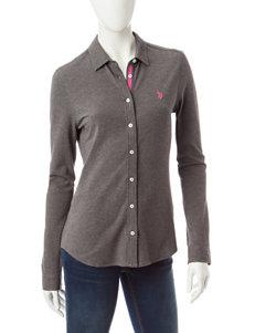 U.S. Polo Assn. Dark Grey Polos Shirts & Blouses