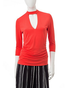 Heart Soul Coral Mock Neck Top
