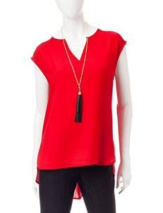 My Michelle Red Pleated Top & Fashion Necklace