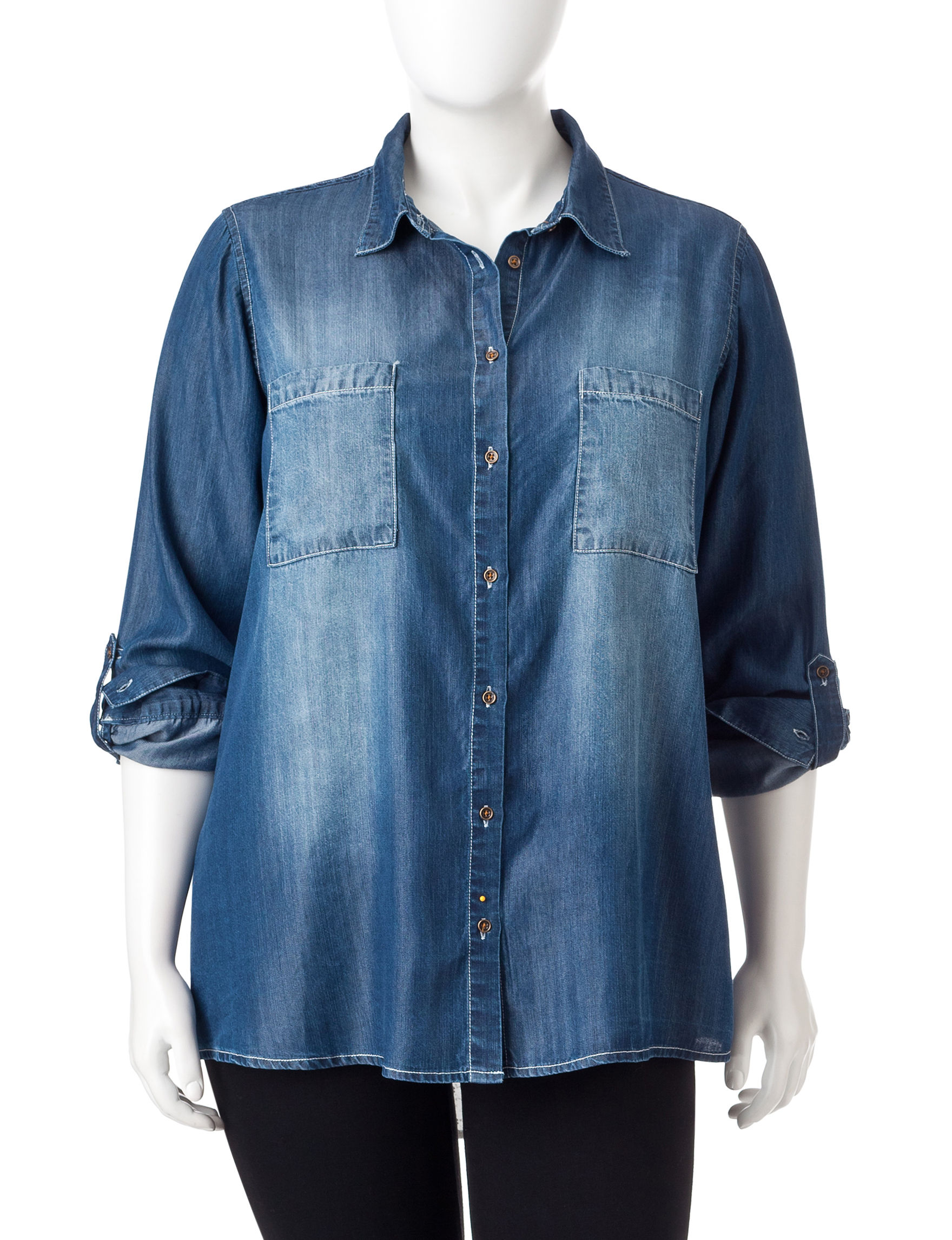 Hint of Mint Dark Blue Shirts & Blouses