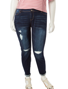 YMI Juniors-plus Destructed Luxe Ankle Jeans