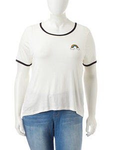 Extra Touch Juniors-plus White Rainbow Patch Top