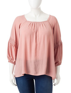 Eyeshadow Juniors-plus Lace Inset Top
