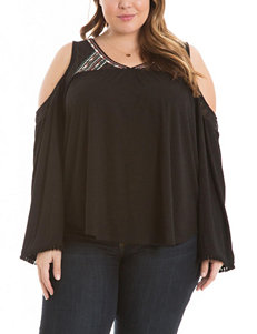 Eyeshadow Juniors-plus Embroidered Lace Yoke Top