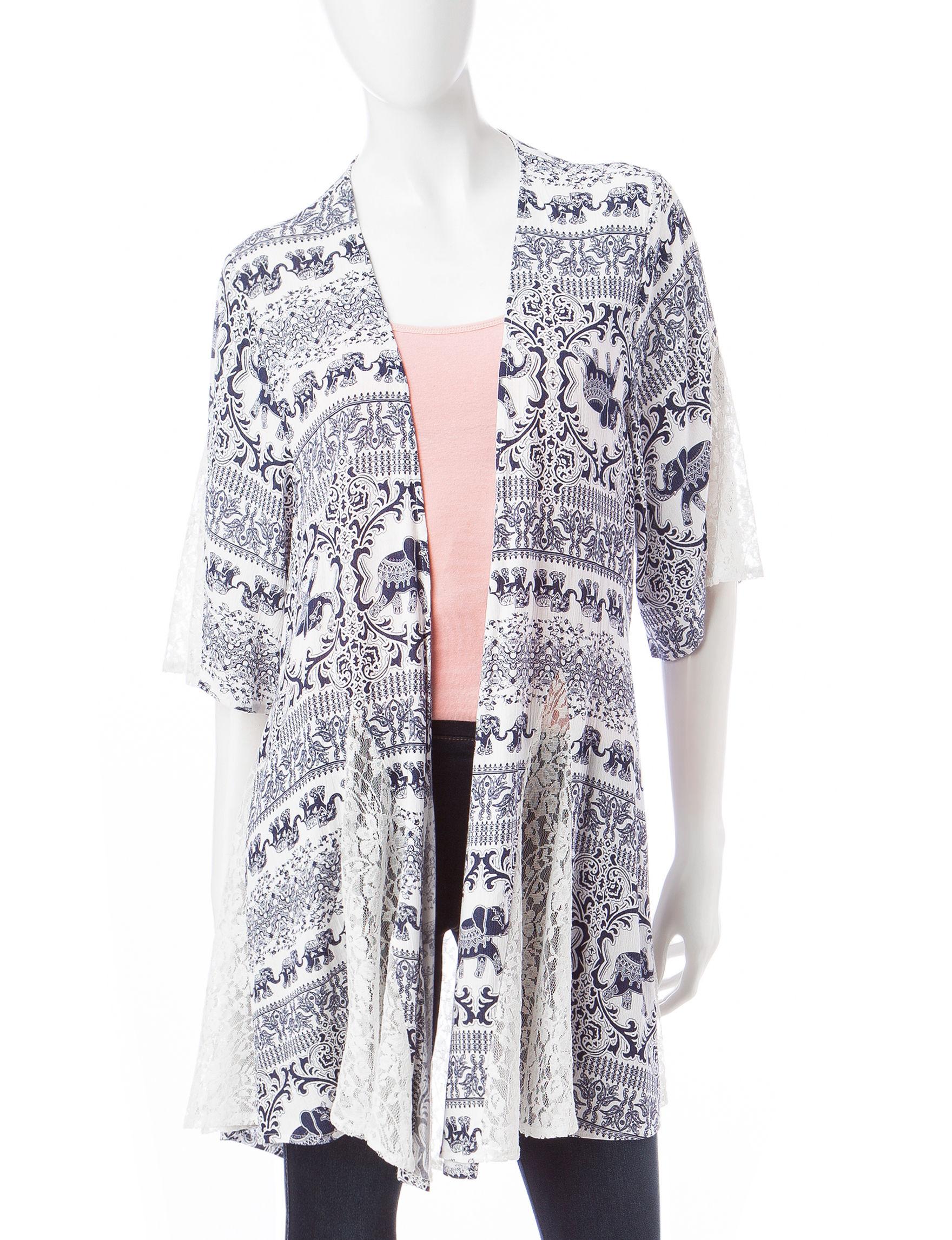Justify White Kimonos Shirts & Blouses
