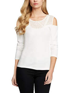 Jessica Simpson Cold Shoulder Crochet Yoke Top