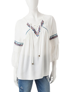 Signature Studio Embroidered Lace-up Top