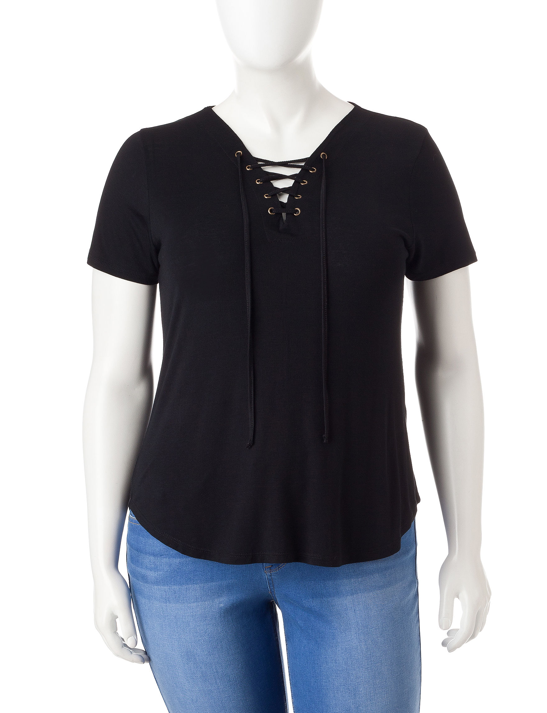 Extra Touch Black Shirts & Blouses