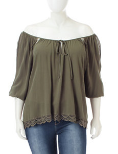 Liberty Love Olive Green Shirts & Blouses