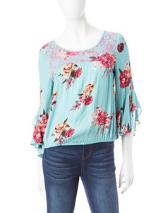 Star Scene Turquoise Shirts & Blouses