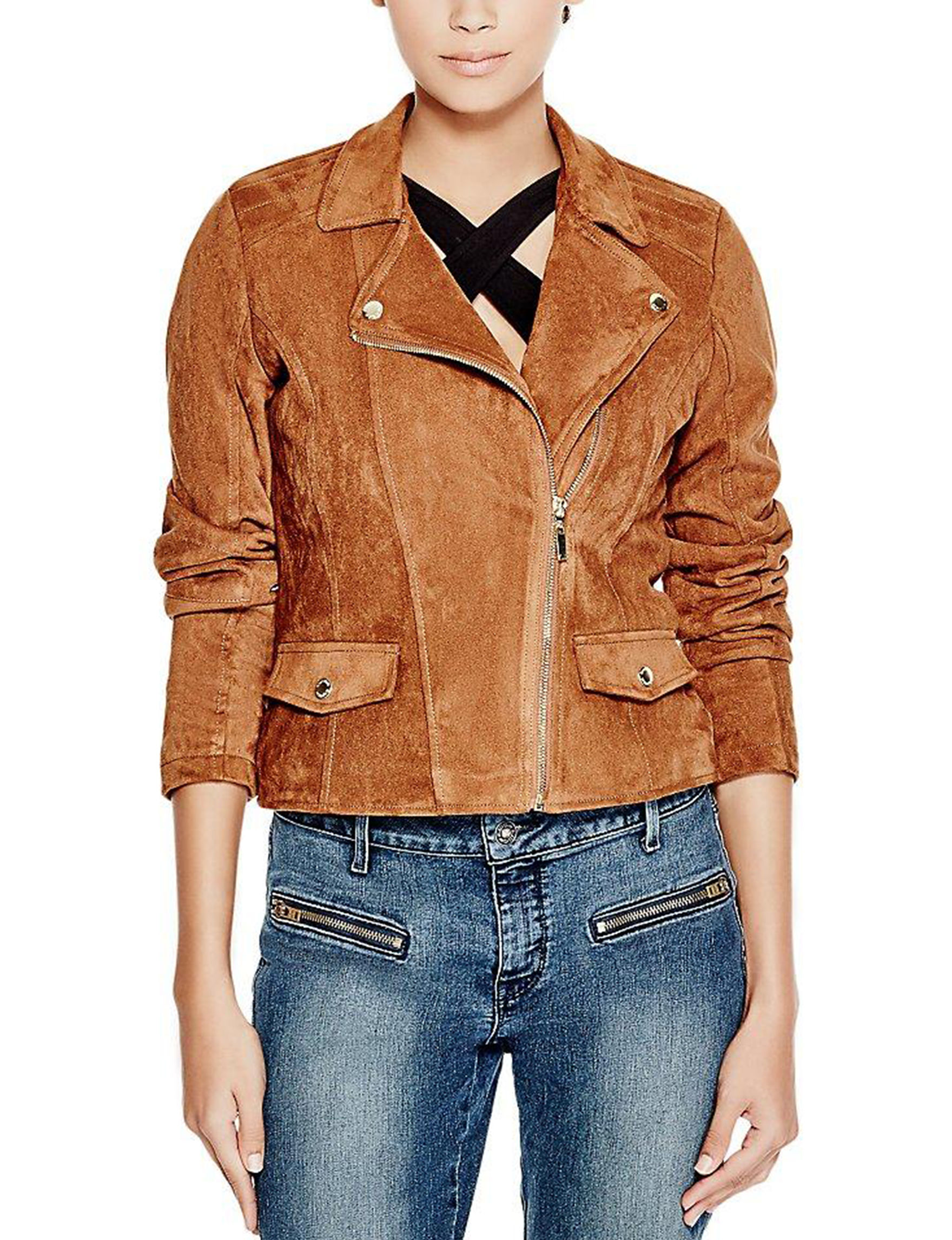 G by Guess Brown Bomber & Moto Jackets