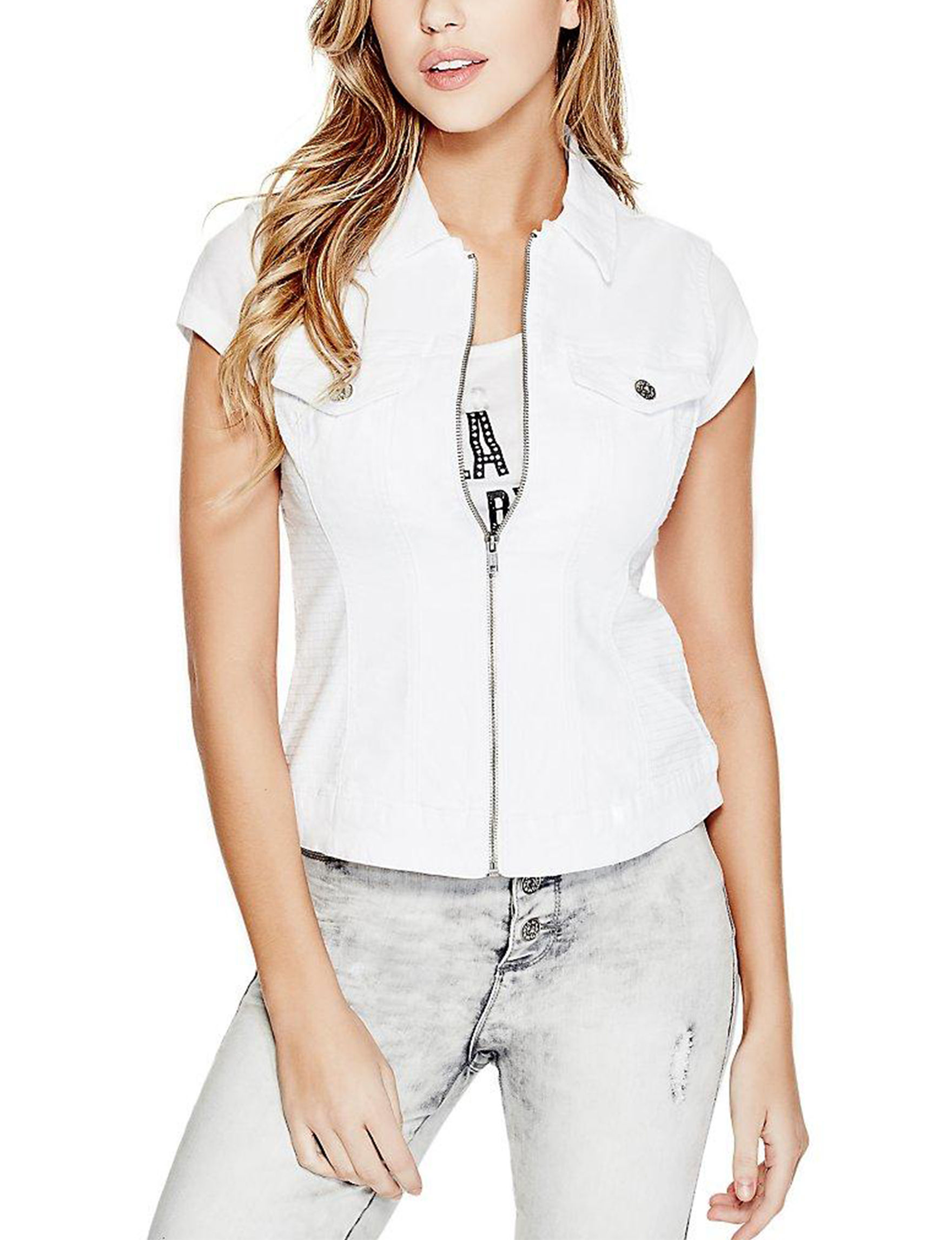 G by Guess White Vests
