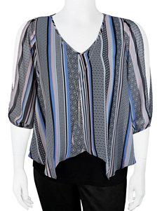 A. Byer Juniors-plus Striped Cold Shoulder Top