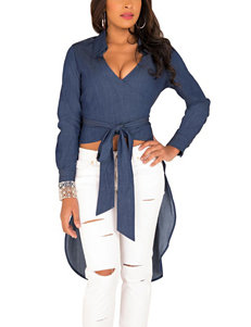 Poetic  Justice Blue Denim Shirts & Blouses