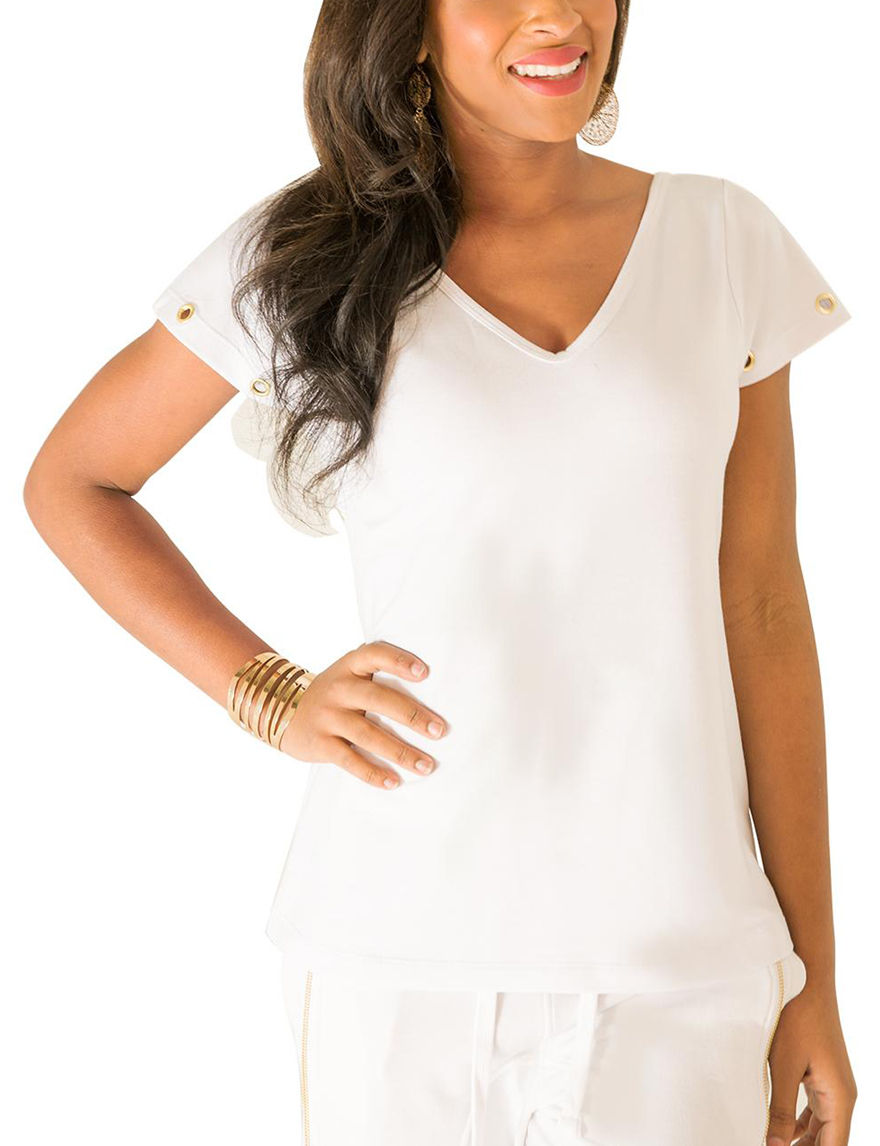Poetic  Justice White Shirts & Blouses