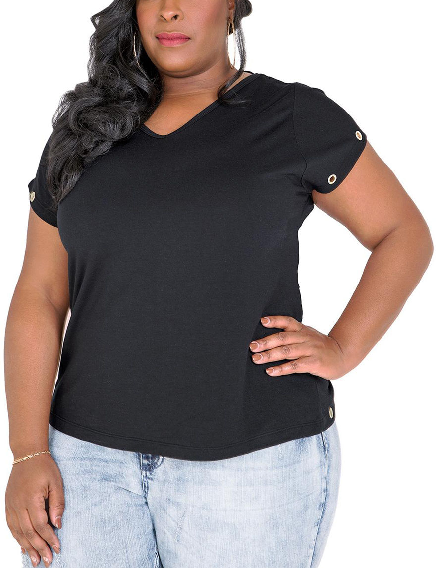 Poetic  Justice Black Shirts & Blouses