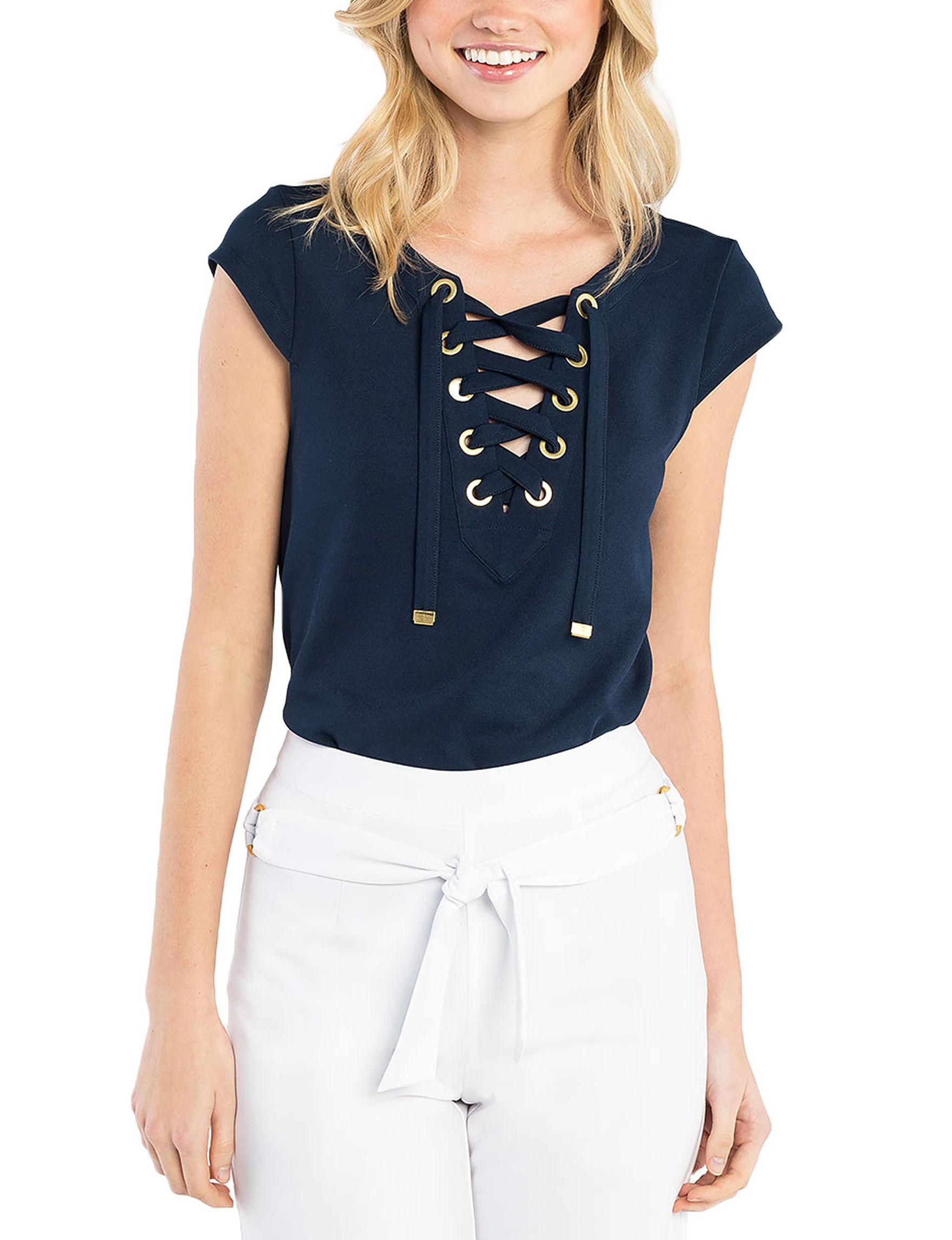 Kensie Navy Shirts & Blouses