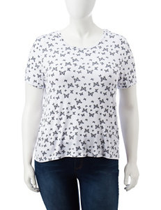 Wishful Park Juniors-plus Butterfly Print Top